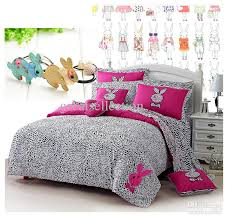 Embroidered Bedding Sets New Leopard Printed Pink Rabbit Embroidered Bedding Sets For Girl