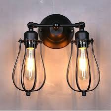 Industrial Wall Sconce Lighting Sconce Hallway Sconce Lighting Black Metal Mini Wire Cage 2
