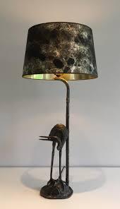 oiseaux en metal lampe vintage en métal avec sculpture oiseau en vente sur pamono