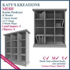Bookcase With Books Second Life Marketplace Full Perm Mesh Racine Bookcase With