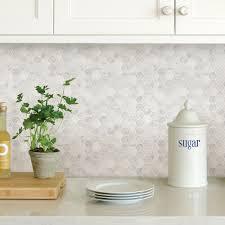 WallPOPs White Hexagon Marble Peel Stick Backsplash TilesNH2359