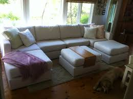 6s u shaped sectional with ottoman in custom ivory polylinen