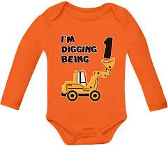 Funny Halloween Birthday 1st Birthday Bulldozer Construction Toddler Bodysuit Baby Long