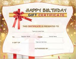sample birthday gift certificate template birthday gift