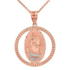 rose gold tone necklace images Solid two tone rose gold cuban link circle frame diamond cut lady jpg