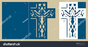 christening invitation easter cross pattern baptism stock vector