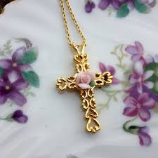 cross with rose necklace images Best rose 39 s avon products on wanelo jpg