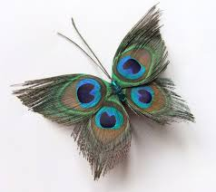 butterfly peacock wedding hair clip accessory peacock feather