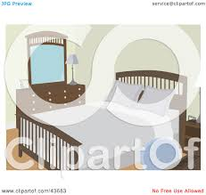clipart illustration of a simple bedroom with wooden furniture and