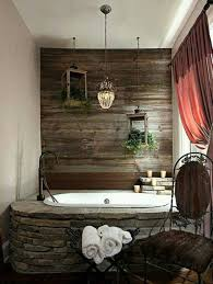 Bathroom With Stone Decorating Ideas For Bathrooms With Stone Tub Against Wood Wall