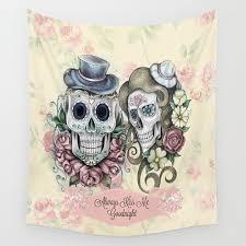 sugar skull wall tapestry skeleton calavera floral