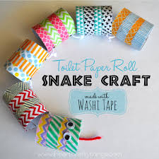 toilet paper roll snake craft made with washi tape i heart