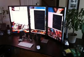 Three Monitor Desk Mac Setup Mac Pro With Three 30 U2033 Portrait Displays
