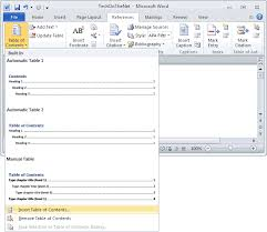 create table of contents in word ms word 2010 create a table of contents