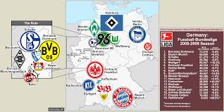 Dortmund Germany Map by Germany Clubs In The 2008 09 Bundesliga With Attendances From 07