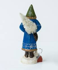 blue father christmas with dog by vaillancourt folk art