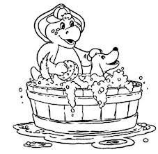 bj bathe pet barney friends colouring bj bathe