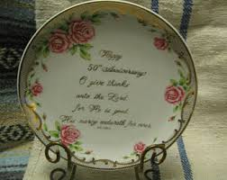50th wedding anniversary plate vintage wedding anniversary gift plate etsy