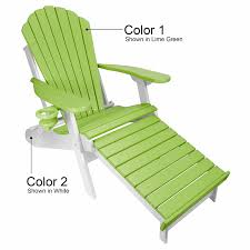 Poly Lumber Outdoor Furniture Outer Banks Poly Lumber Folding Adirondack Chair With Integrated