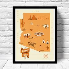 Map Of Arizona State by Arizona Map The Copper State Map Original Illustrated Map