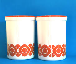 vintage kitchen canister set retro orange mod daisy flower power kitchen canister set of two