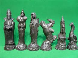 gothic style wizards and dragons fantasy chess set pieces only