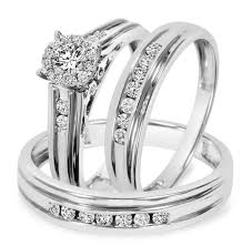 wedding trio sets 3 4 carat t w diamond trio matching wedding ring set 10k white gold