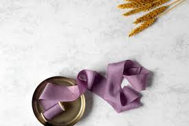 dyed ribbon silk ribbon dyed auberginen ribbon purple ribbon plant dyed