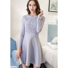 2d lace long sleeves skater dress