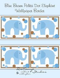 blue and brown polka dot elephant wallpaper border wall decals for