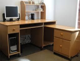 furniture brown polished wooden corner desk with shelves and