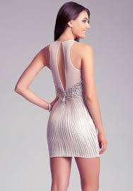 bebe sequin embellished dress in metallic lyst