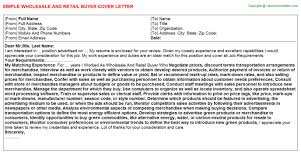 wholesale and retail buyer cover letter