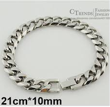 silver stainless steel bracelet images Men cuban links chains silver stainless steel bracelet jpg
