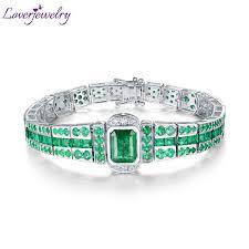 emerald bracelet white gold images Loverjewelry luxury design solid 18k white gold emerald bracelet jpg