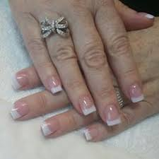 pink and white acrylic nails by rebeca at beauty and the beach
