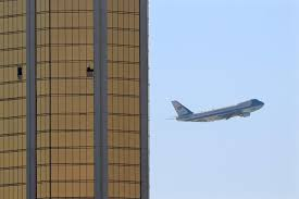air force one departs las vegas past the broken windows on the