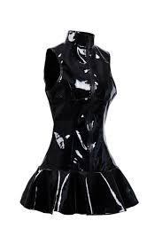 women black latex pvc wet look dresses clubwear dance costume