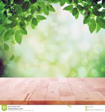 Wooden Table Background Vector Wood Table Top With Green Leaf U0026 Blur Bokeh Background Stock Photo