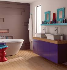 create this funky bathroom by painting your cabinets with amethyst