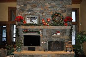 Patterned Armchair Design Ideas Interior Stone Fireplace Mantels With Stone Wall And Christmas