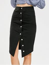 denim skirts asymmetrical button up denim skirt black skirts m zaful