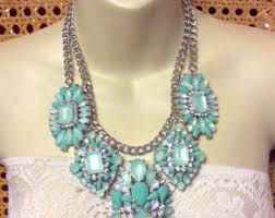 turquoise coloured necklace images Bling necklace etsy jpg