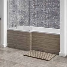 vellamo drift 1700mm square shower bath panel driftwood off273