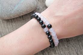 black bracelet pink images 2pc set couple bracelets distance bracelets natural stone bracelet jpg