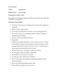 truck driver job description responsibilities job description