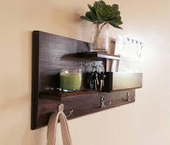 furniture dark brown wooden coat hanger with shelf using steel