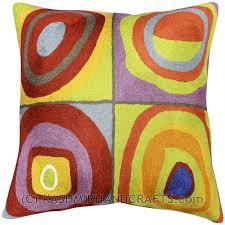 kandinsky throw pillow farbstudie quadrate ii hand embroidered 18