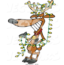 cartoon vector of a christmas reindeer wearing yellow lights by