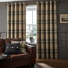 Grey Curtains 90 X 90 Catherine Lansfield Home Brushed Heritage Check Woven Eyelet Lined